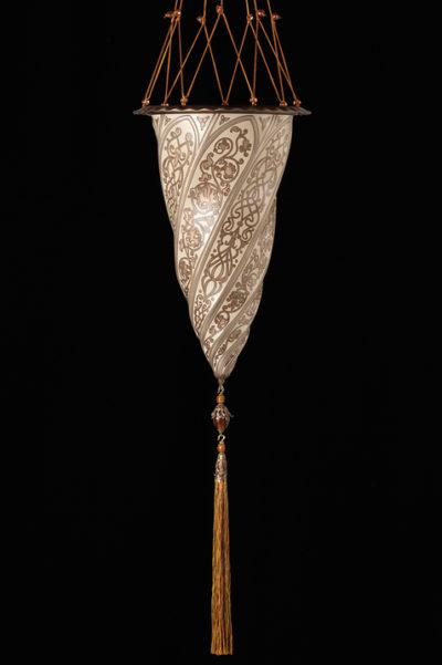 Cesendello Chandelier glass ceiling lamp single silver