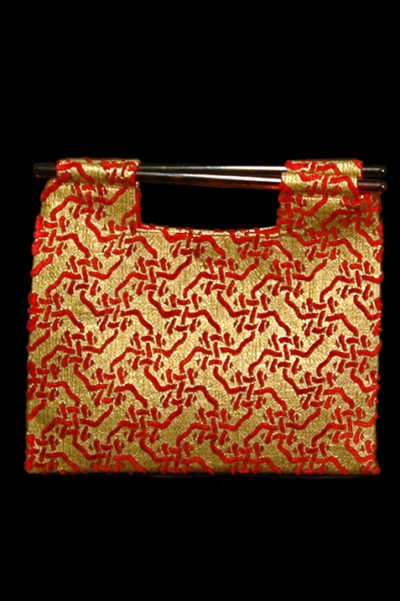 Fortuny Aiko Intreccio Red printed velvet bag front