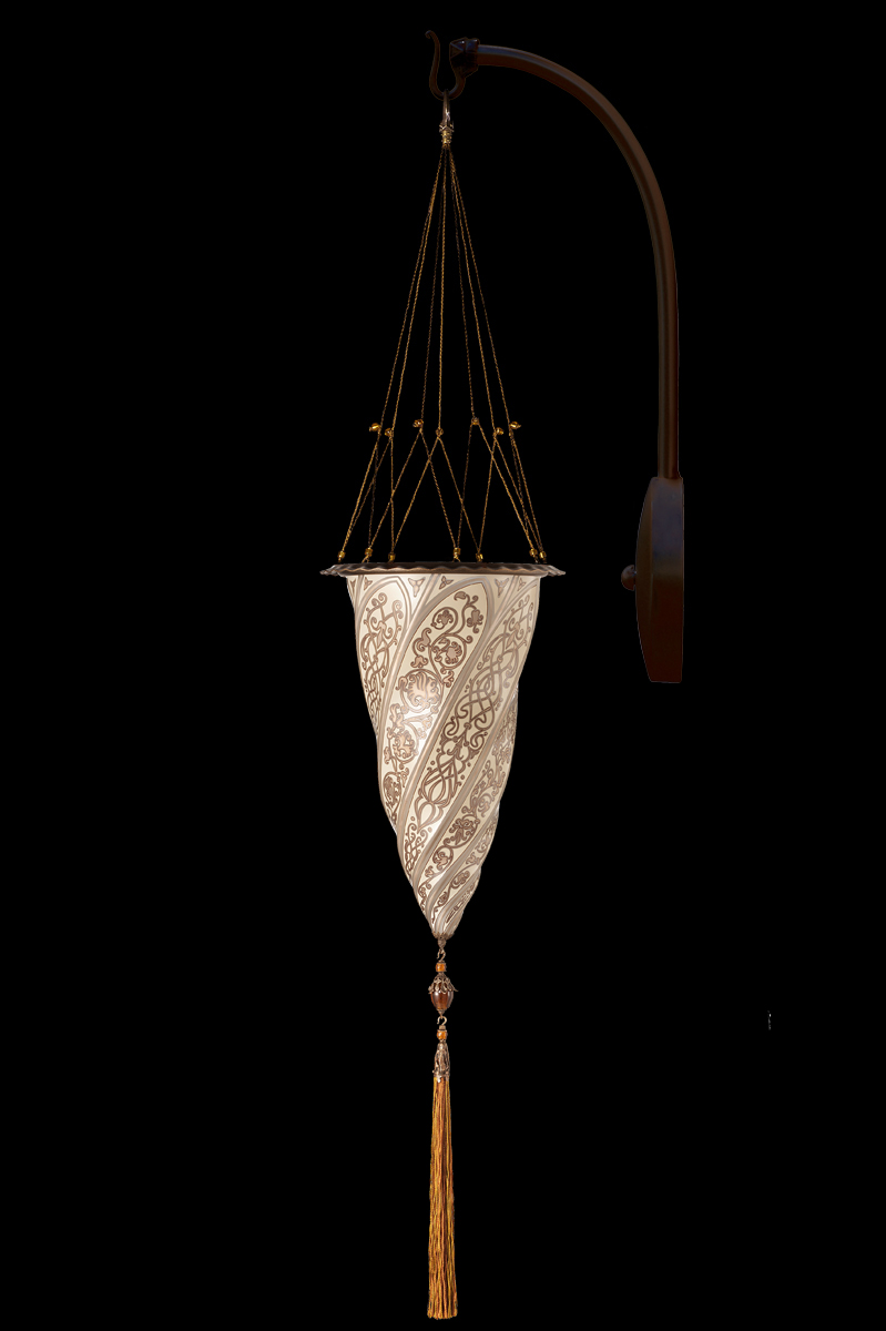 Fortuny Cesendello glass arc-wall silver lamp