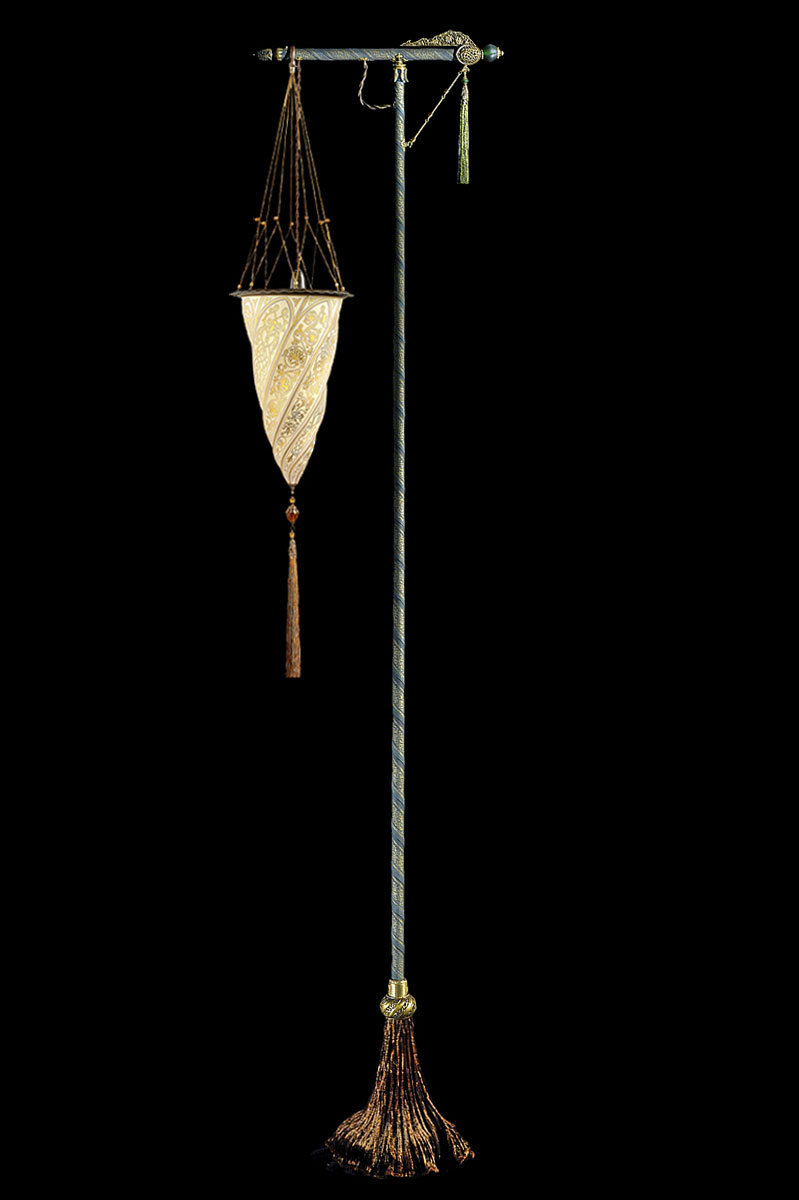 Fortuny Cesendello gold glass lamp green stand