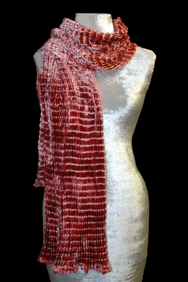 Pleated velvet scarves