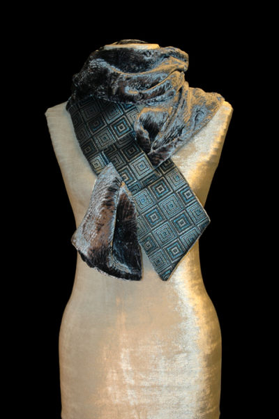 Dark Blue Printed Velvet Scarf 1