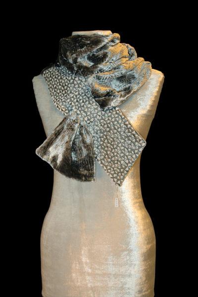 Grey Printed Velvet Scarf 1