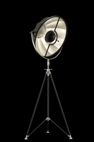 Fortuny Studio 63 floor tripod lamp black & silver