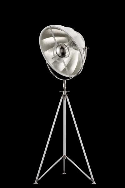 Fortuny Studio 63 floor tripod lamp white & silver