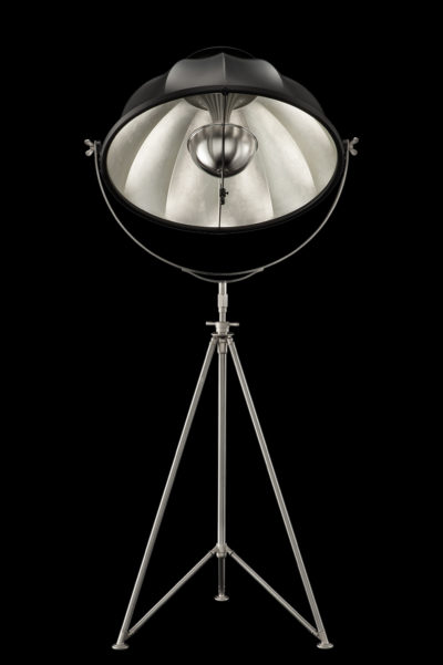 Fortuny Studio 76 floor black & silver lamp with steel tripod