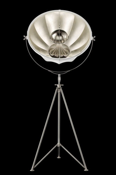 Fortuny Studio 76 floor white & silver lamp with steel tripod