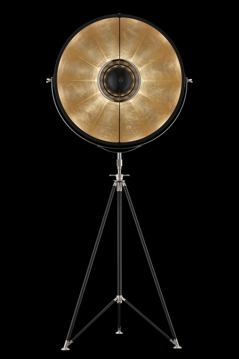 Fortuny Studio 76 floor tripod lamp black gold