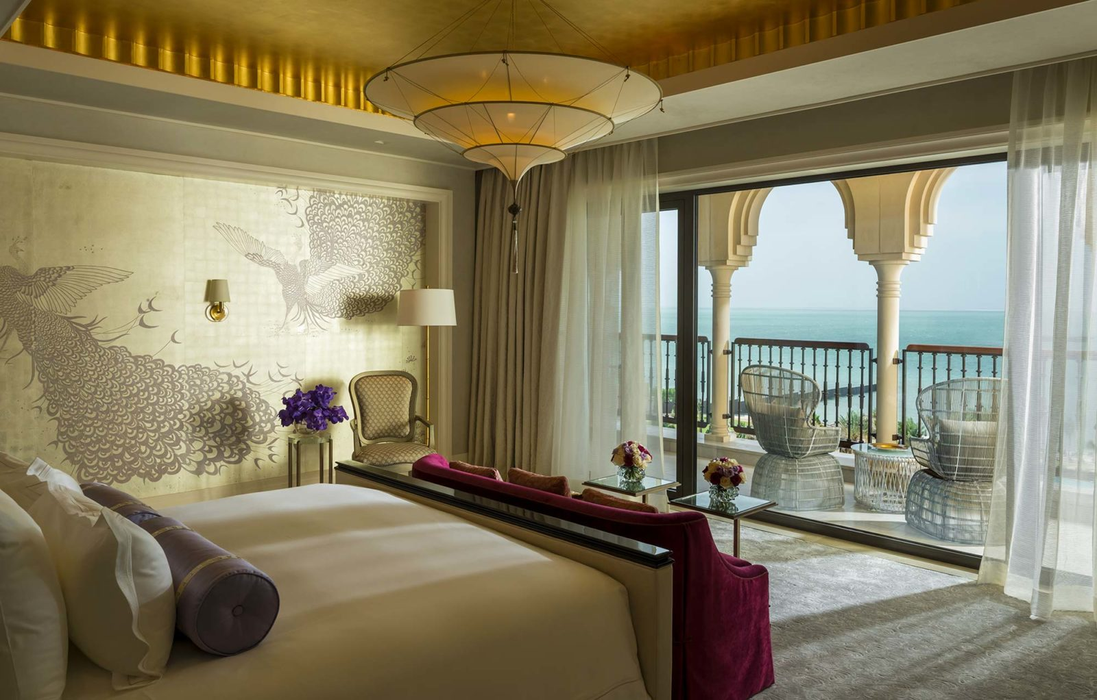 3 tiers plain silk lamp Scheherazade in Four Seasons Resort Hotel in Dubai, Royal Suite Master bedroom