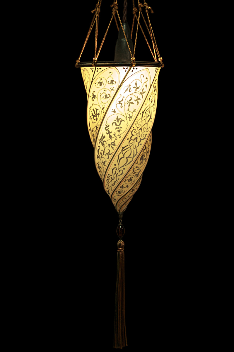 Fortuny Cesendello ceiling or wall yellow ochre silk lamp