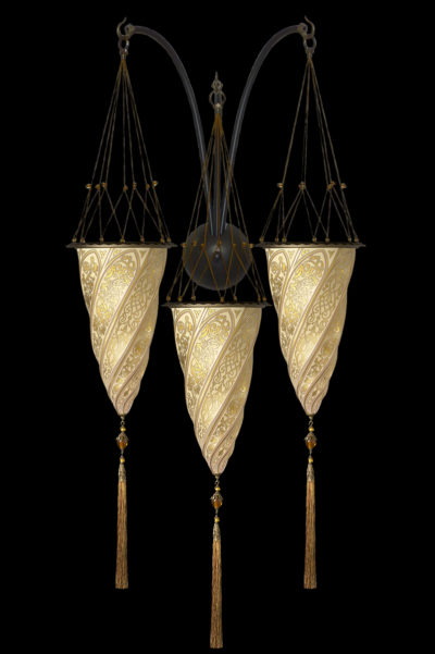 Fortuny Cesendello glass triple arc-wall gold lamp