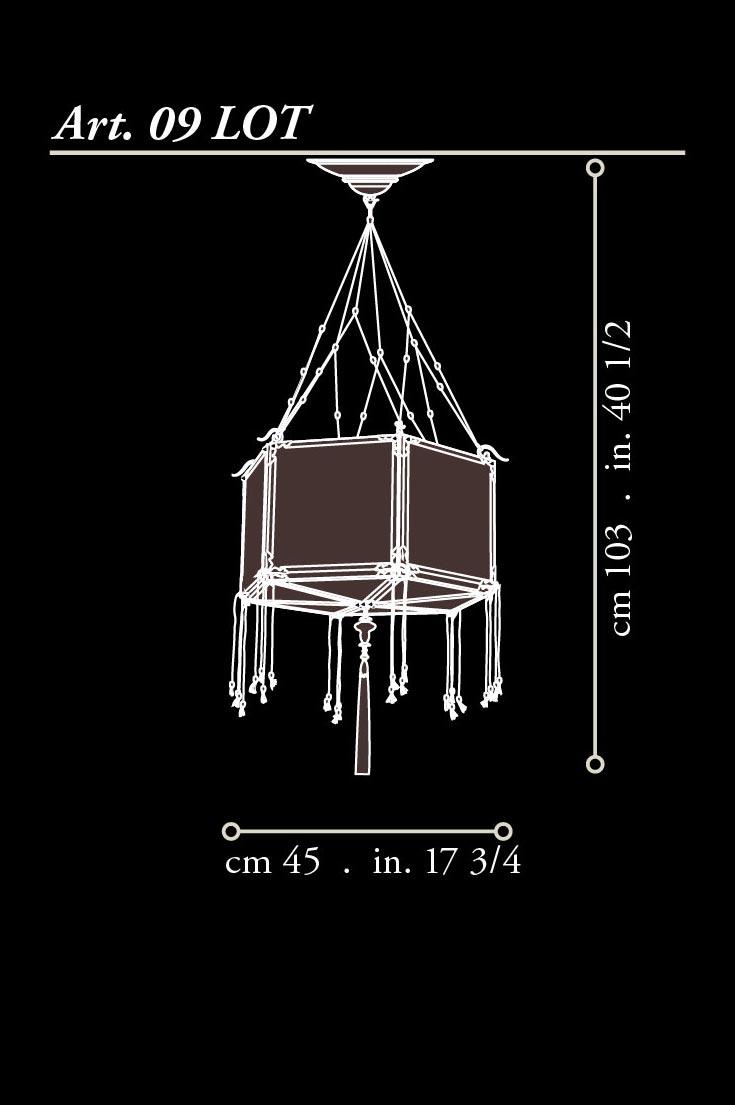 Fortuny silk wood Concubine Loto lamp dimensions