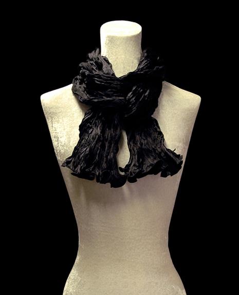 Fortuny crinkled crepe satin black silk scarf