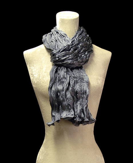 Fortuny crinkled crepe satin blue grey silk scarf