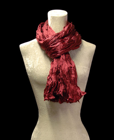 Fortuny crinkled crepe satin bordeaux silk scarf