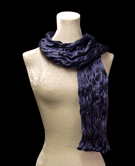 Fortuny crinkled crepe satin bright navy silk scarf