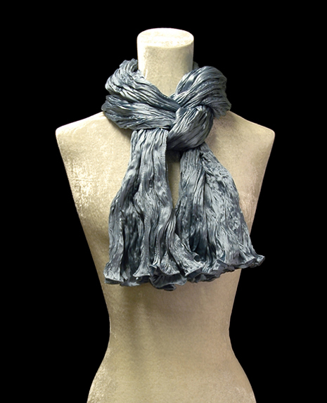 Fortuny crinkled crepe satin candy blue silk scarf