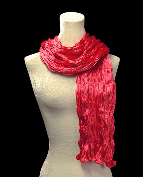 Fortuny crinkled crepe satin carmine red silk scarf