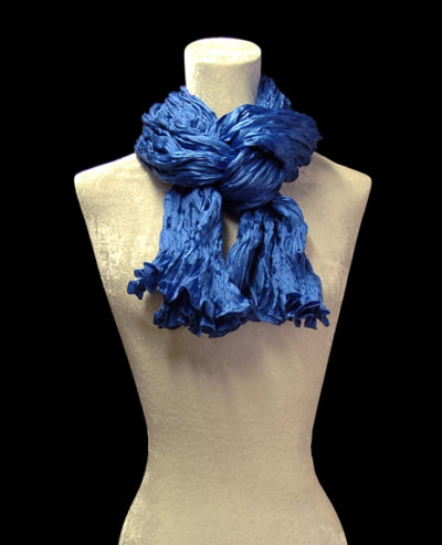 Fortuny crinkled crepe satin cobalt blue silk scarf