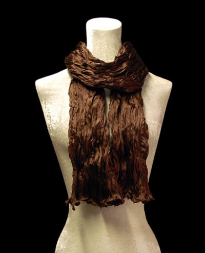 Fortuny crinkled crepe satin cocoa silk scarf