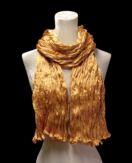 Fortuny crinkled crepe satin dark apricot silk scarf
