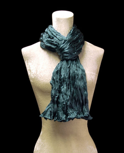 Fortuny crinkled crepe satin dark teal blue silk scarf