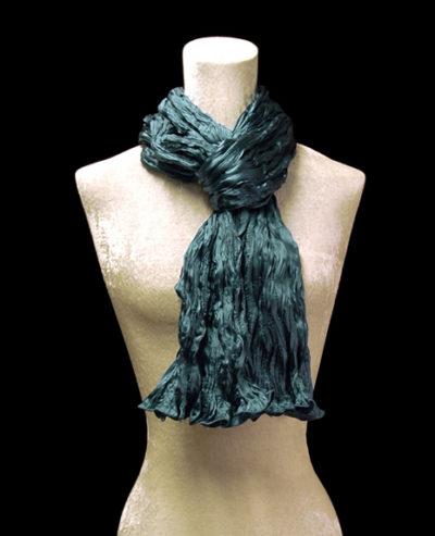 Fortuny crinkled crepe satin dark teal blue silk scarf