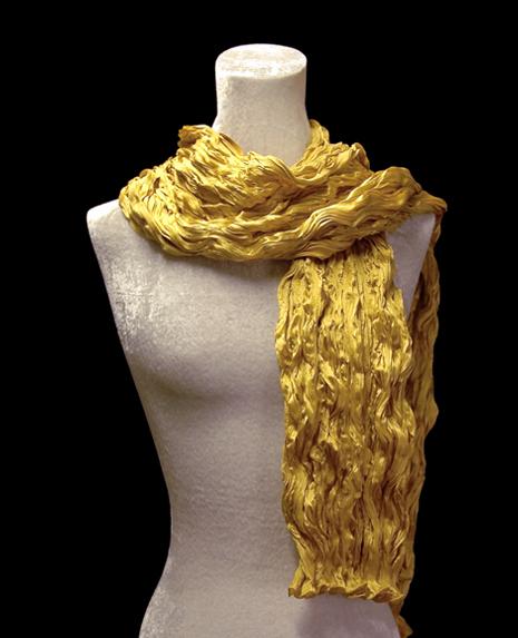 Fortuny crinkled crepe satin gold silk scarf