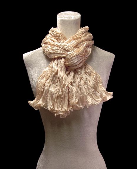 Fortuny crinkled crepe satin ivory silk scarf