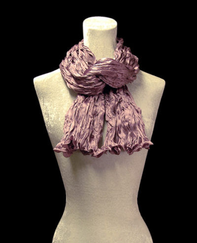 Fortuny crinkled crepe satin mauve silk scarf