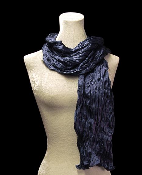 Fortuny crinkled crepe satin navy blue silk scarf
