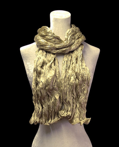 Fortuny crinkled crepe satin pale olive green silk scarf