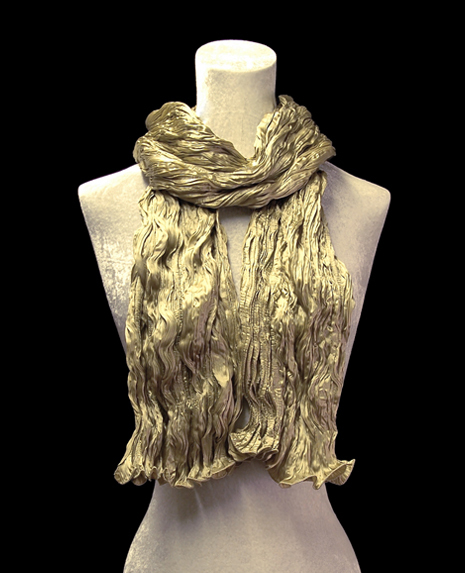 Fortuny crinkled crepe satin pale olive green silk scarf