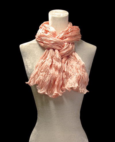 Fortuny crinkled crepe satin peach silk scarf