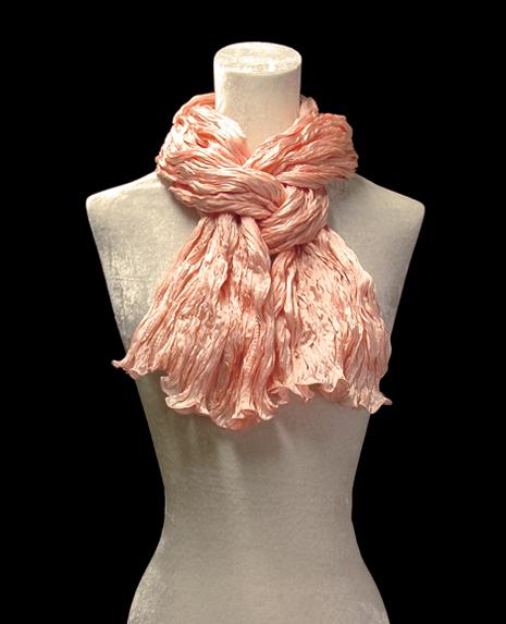 Fortuny crinkled crepe satin peach silk scarf