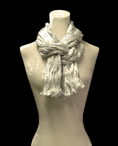 Fortuny crinkled crepe satin pearl grey silk scarf