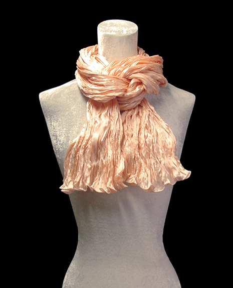 Fortuny crinkled crepe satin shell pink silk scarf