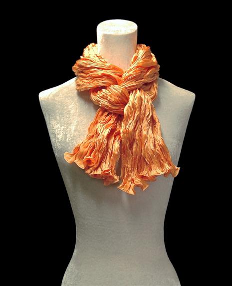 Fortuny crinkled crepe satin silk tangerine orange scarf
