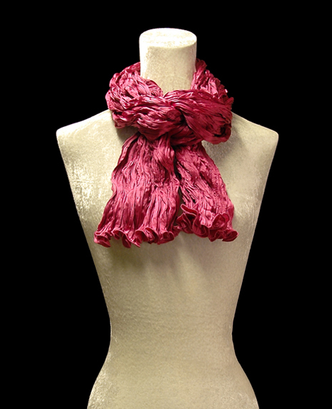 Fortuny crinkled crepe satin strawberry silk scarf