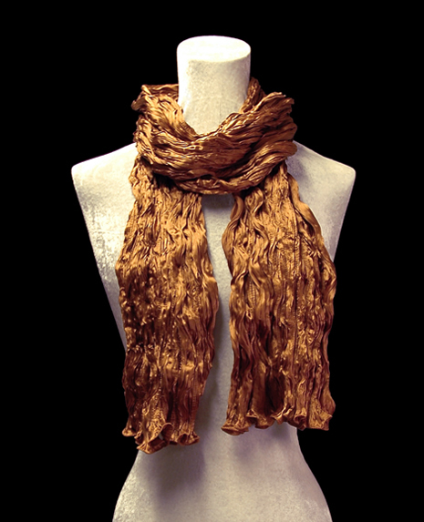 Fortuny crinkled crepe satin tobacco brown silk scarf