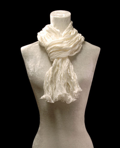 Fortuny crinkled crepe satin white silk scarf