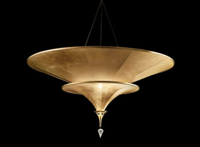 Fortuny Icaro carbon fibre 2 tiers gold lamp