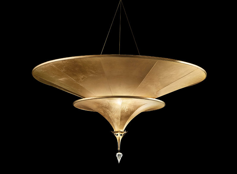 Fortuny Icaro glass fibre 2 tiers gold lamp