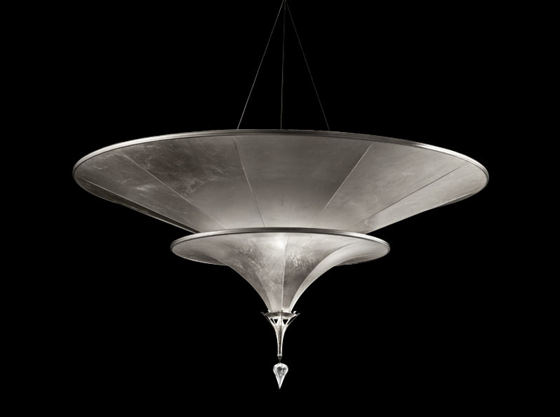 Fortuny Icaro glass fibre 2 tiers silver lamp