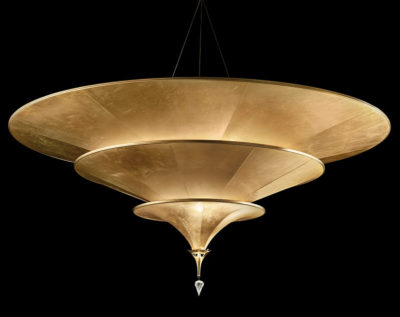 Fortuny Icaro carbon fibre 3 tiers gold lamp