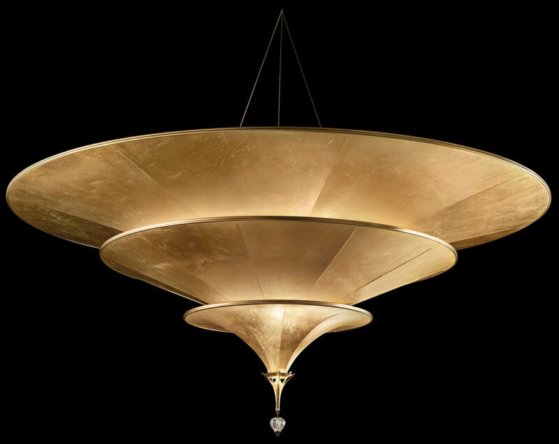 Fortuny Icaro glass fibre 3 tiers gold lamp