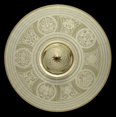 Fortuny Samarkanda Decò silk lamp with disc bottom view