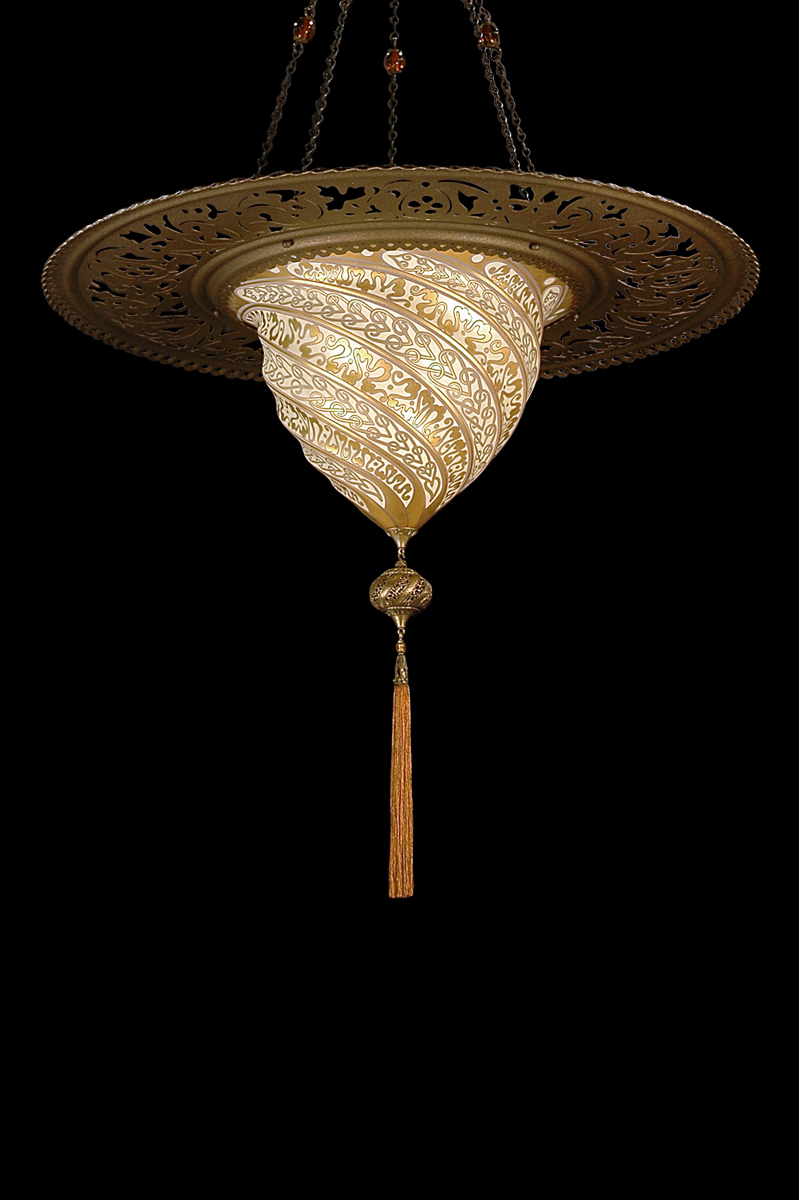 Fortuny Samarkanda wall gold glass lamp with metal ring bottom