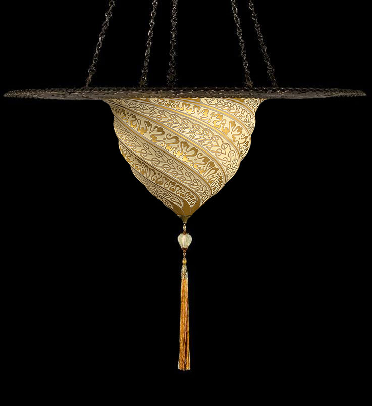Fortuny Samarkanda gold glass lamp with metal ring
