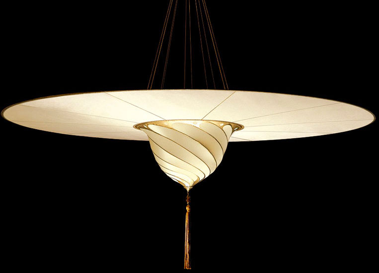Fortuny Samarkanda plain silk lamp with disc